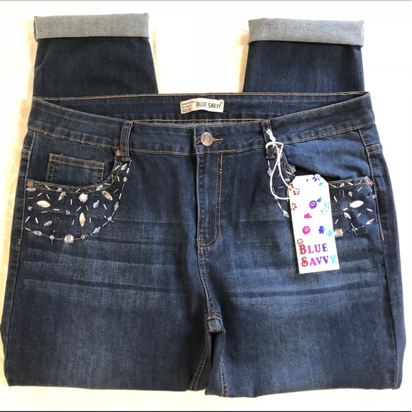 38dfe43331f12 Blue Savvy Crop Jeans Plus Size 22